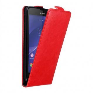 Cadorabo Hülle für Sony Xperia T3 in APFEL ROT - Handyhülle im Flip Design mit unsichtbarem Magnetverschluss - Case Cover Schutzhülle Etui Tasche Book Klapp Style