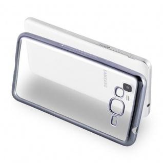 Cadorabo Hülle für Samsung Galaxy GRAND PRIME - Hülle in TRANSPARENT mit CHROM SCHWARZ ? Handyhülle aus TPU Silikon im Chrom Design - Silikonhülle Schutzhülle Ultra Slim Soft Back Cover Case Bumper - Vorschau 4