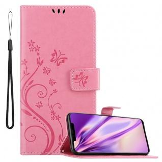 Cadorabo Hülle für Huawei MATE 20 PRO in FLORAL ROSA Handyhülle im Blumen Design mit Magnetverschluss, Standfunktion und 3 Kartenfächern Case Cover Schutzhülle Etui Tasche