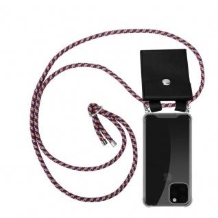 Cadorabo Handy Kette für Apple iPhone 11 PRO MAX (XI PRO MAX) in ROT GELB WEISS - Silikon Necklace Umhänge Hülle mit Silber Ringen, Kordel Band Schnur und abnehmbarem Etui - Schutzhülle