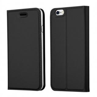 Cadorabo Hülle für Apple iPhone 6 PLUS / iPhone 6S PLUS in CLASSY SCHWARZ - Handyhülle mit Magnetverschluss, Standfunktion und Kartenfach - Case Cover Schutzhülle Etui Tasche Book Klapp Style