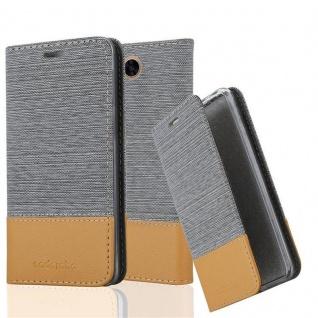 Cadorabo Hülle für LG X POWER 2 in HELL GRAU BRAUN - Handyhülle mit Magnetverschluss, Standfunktion und Kartenfach - Case Cover Schutzhülle Etui Tasche Book Klapp Style