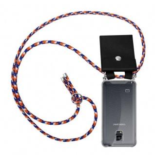 Cadorabo Handy Kette für Samsung Galaxy NOTE 4 in ORANGE BLAU WEISS - Silikon Necklace Umhänge Hülle mit Silber Ringen, Kordel Band Schnur und abnehmbarem Etui - Schutzhülle
