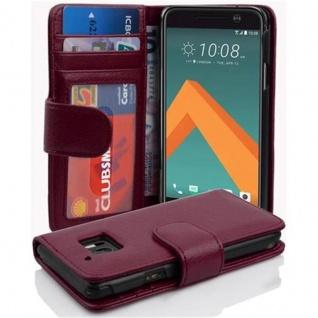 Cadorabo Hülle für HTC 10 (One M10) in BORDEAUX LILA - Handyhülle mit Magnetverschluss und 3 Kartenfächern - Case Cover Schutzhülle Etui Tasche Book Klapp Style