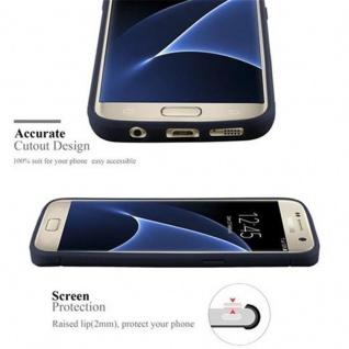 Cadorabo Hülle für Samsung Galaxy S7 - Hülle in BRUSHED BLAU - Handyhülle aus TPU Silikon in Edelstahl-Karbonfaser Optik - Silikonhülle Schutzhülle Ultra Slim Soft Back Cover Case Bumper - Vorschau 2