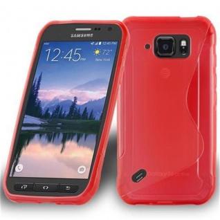 Cadorabo Hülle für Samsung Galaxy S6 ACTIVE in INFERNO ROT - Handyhülle aus flexiblem TPU Silikon - Silikonhülle Schutzhülle Ultra Slim Soft Back Cover Case Bumper
