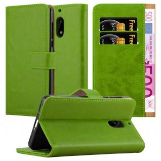 Cadorabo Hülle für Nokia 6 2017 in GRAS GRÜN Handyhülle mit Magnetverschluss, Standfunktion und Kartenfach Case Cover Schutzhülle Etui Tasche Book Klapp Style