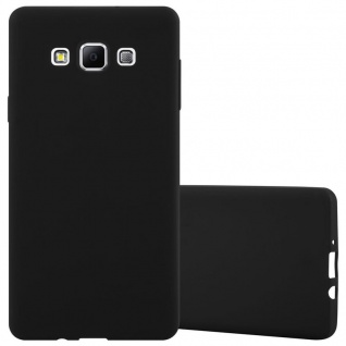 Cadorabo Hülle für Samsung Galaxy A7 2015 in CANDY SCHWARZ - Handyhülle aus flexiblem TPU Silikon - Silikonhülle Schutzhülle Ultra Slim Soft Back Cover Case Bumper