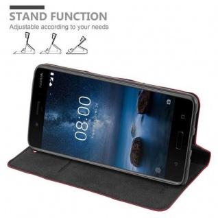 Cadorabo Hülle für Nokia 8 2017 in APFEL ROT - Handyhülle mit Magnetverschluss, Standfunktion und Kartenfach - Case Cover Schutzhülle Etui Tasche Book Klapp Style - Vorschau 3