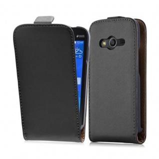 Cadorabo Hülle für Samsung Galaxy ACE 4 in KAVIAR SCHWARZ - Handyhülle im Flip Design aus glattem Kunstleder - Case Cover Schutzhülle Etui Tasche Book Klapp Style