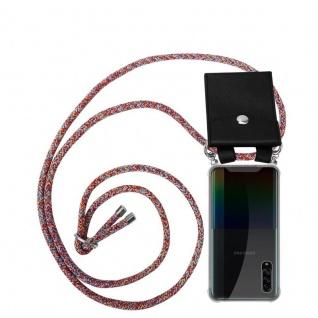 Cadorabo Handy Kette für Samsung Galaxy A90 5G in COLORFUL PARROT Silikon Necklace Umhänge Hülle mit Silber Ringen, Kordel Band Schnur und abnehmbarem Etui Schutzhülle