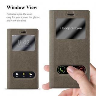 Cadorabo Hülle für Huawei P8 in STEIN BRAUN - Handyhülle mit Magnetverschluss, Standfunktion und 2 Sichtfenstern - Case Cover Schutzhülle Etui Tasche Book Klapp Style - Vorschau 4