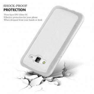 Cadorabo Hülle für Samsung Galaxy J5 2015 - Hülle in STERNENSTAUB SILBER ? TPU Silikon und Hardcase Handyhülle im Glitzer Design - Hard Case TPU Silikon Schutzhülle - Vorschau 2