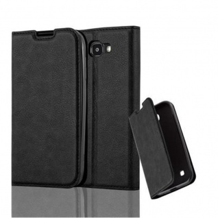 Cadorabo Hülle für LG K3 2017 in NACHT SCHWARZ - Handyhülle mit Magnetverschluss, Standfunktion und Kartenfach - Case Cover Schutzhülle Etui Tasche Book Klapp Style