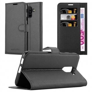 Cadorabo Hülle für Samsung Galaxy A6 PLUS 2018 in PHANTOM SCHWARZ - Handyhülle mit Magnetverschluss, Standfunktion und Kartenfach - Case Cover Schutzhülle Etui Tasche Book Klapp Style