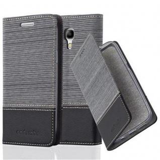 Cadorabo Hülle für Samsung Galaxy S4 MINI in GRAU SCHWARZ - Handyhülle mit Magnetverschluss, Standfunktion und Kartenfach - Case Cover Schutzhülle Etui Tasche Book Klapp Style