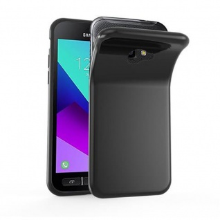 Cadorabo Hülle für Samsung Galaxy Xcover 4 in SCHWARZ - Handyhülle aus flexiblem TPU Silikon - Silikonhülle Schutzhülle Ultra Slim Soft Back Cover Case Bumper