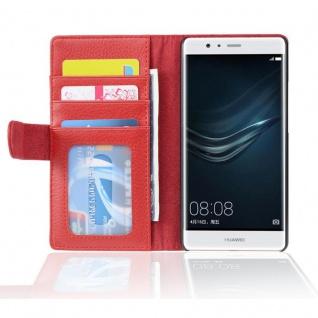 Cadorabo Hülle für Huawei P10 LITE in INFERNO ROT ? Handyhülle mit Magnetverschluss und 3 Kartenfächern ? Case Cover Schutzhülle Etui Tasche Book Klapp Style