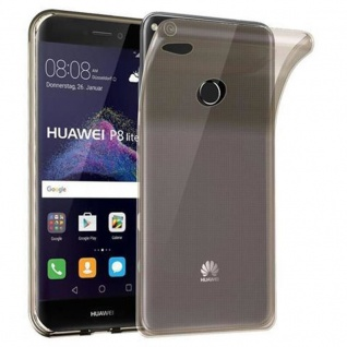 Cadorabo Hülle für Huawei P8 LITE 2017 in TRANSPARENT SCHWARZ - Handyhülle aus flexiblem TPU Silikon - Silikonhülle Schutzhülle Ultra Slim Soft Back Cover Case Bumper