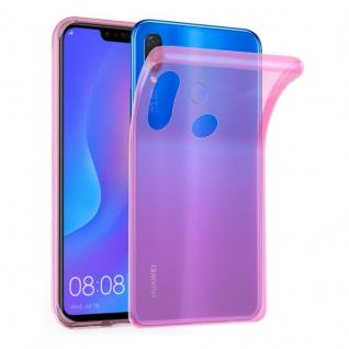 Cadorabo Hülle für Huawei P SMART PLUS in TRANSPARENT PINK - Handyhülle aus flexiblem TPU Silikon - Silikonhülle Schutzhülle Ultra Slim Soft Back Cover Case Bumper