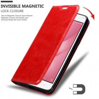 Cadorabo Hülle für Asus ZenFone 4 MAX (5, 2 Zoll) in APFEL ROT - Handyhülle mit Magnetverschluss, Standfunktion und Kartenfach - Case Cover Schutzhülle Etui Tasche Book Klapp Style - Vorschau 3