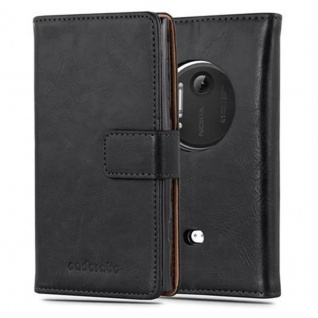 Cadorabo Hülle für Nokia Lumia 1020 in GRAPHIT SCHWARZ - Handyhülle mit Magnetverschluss, Standfunktion und Kartenfach - Case Cover Schutzhülle Etui Tasche Book Klapp Style