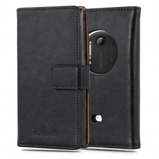 Cadorabo Hülle für Nokia Lumia 1020 in GRAPHIT SCHWARZ Handyhülle mit Magnetverschluss, Standfunktion und Kartenfach Case Cover Schutzhülle Etui Tasche Book Klapp Style