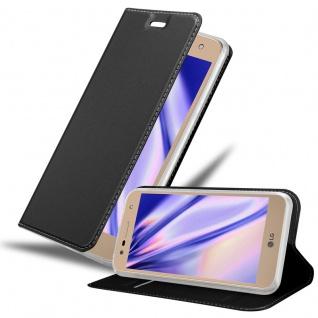 Cadorabo Hülle für LG X POWER 2 in CLASSY SCHWARZ - Handyhülle mit Magnetverschluss, Standfunktion und Kartenfach - Case Cover Schutzhülle Etui Tasche Book Klapp Style