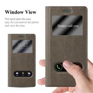 Cadorabo Hülle für Huawei P7 in STEIN BRAUN - Handyhülle mit Magnetverschluss, Standfunktion und 2 Sichtfenstern - Case Cover Schutzhülle Etui Tasche Book Klapp Style - Vorschau 2