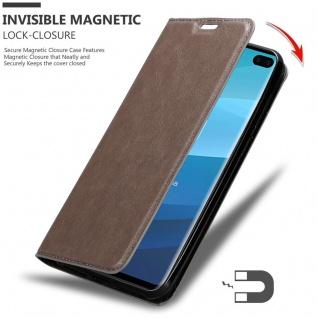 Cadorabo Hülle für Samsung Galaxy S10 PLUS in KAFFEE BRAUN - Handyhülle mit Magnetverschluss, Standfunktion und Kartenfach - Case Cover Schutzhülle Etui Tasche Book Klapp Style - Vorschau 3