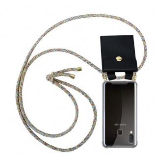 Cadorabo Handy Kette für Samsung Galaxy A20e in RAINBOW - Silikon Necklace Umhänge Hülle mit Gold Ringen, Kordel Band Schnur und abnehmbarem Etui ? Schutzhülle