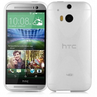 Cadorabo Hülle für HTC ONE M8 (2.Gen.) in HALB TRANSPARENT ? Handyhülle aus flexiblem TPU Silikon ? Silikonhülle Schutzhülle Ultra Slim Soft Back Cover Case Bumper