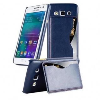 Cadorabo Hülle für Samsung Galaxy A3 2015 - Hülle in BLAU ? Handyhülle mit Kartenfach und Standfunktion - Hardcase Bumper Back Case Cover