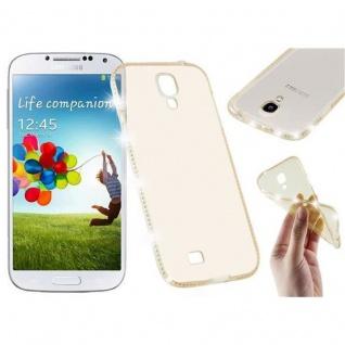 Cadorabo Hülle für Samsung Galaxy S4 - Hülle in TRANSPARENT GOLD ? Handyhülle aus TPU Silikon im Strass Design - Silikonhülle Schutzhülle Ultra Slim Soft Back Cover Case Bumper