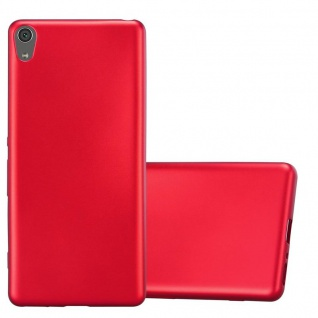 Cadorabo Hülle für Sony Xperia XA in METALLIC ROT - Handyhülle aus flexiblem TPU Silikon - Silikonhülle Schutzhülle Ultra Slim Soft Back Cover Case Bumper