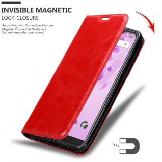 Cadorabo Hülle für WIKO VIEW 2 GO in APFEL ROT - Handyhülle mit Magnetverschluss, Standfunktion und Kartenfach - Case Cover Schutzhülle Etui Tasche Book Klapp Style - Vorschau 3