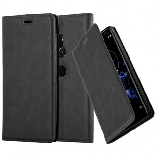 Cadorabo Hülle für Sony Xperia XZ2 in NACHT SCHWARZ - Handyhülle mit Magnetverschluss, Standfunktion und Kartenfach - Case Cover Schutzhülle Etui Tasche Book Klapp Style