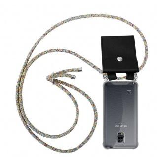Cadorabo Handy Kette für Samsung Galaxy NOTE 4 in RAINBOW - Silikon Necklace Umhänge Hülle mit Silber Ringen, Kordel Band Schnur und abnehmbarem Etui - Schutzhülle
