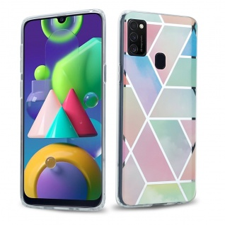 Cadorabo Hülle für Samsung Galaxy M21 / M30s Hülle in Regenbogen Marmor No.11 Handyhülle aus TPU Silikon mit Muster Mosaik Silikonhülle Schutzhülle Ultra Slim Back Cover Case Bumper
