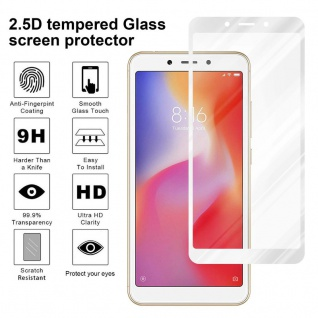 Cadorabo Vollbild Panzer Folie für Xiaomi RedMi 6A - Schutzfolie in TRANSPARENT mit WEISS - Gehärtetes (Tempered) Display-Schutzglas in 9H Härte mit 3D Touch Kompatibilität - Vorschau 4