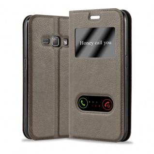 Cadorabo Hülle für Samsung Galaxy J1 2016 in STEIN BRAUN - Handyhülle mit Magnetverschluss, Standfunktion und 2 Sichtfenstern - Case Cover Schutzhülle Etui Tasche Book Klapp Style