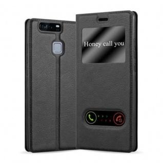 Cadorabo Hülle für Huawei P9 in KOMETEN SCHWARZ Handyhülle mit Magnetverschluss, Standfunktion und 2 Sichtfenstern Case Cover Schutzhülle Etui Tasche Book Klapp Style