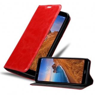 Cadorabo Hülle für Xiaomi RedMi 7A in APFEL ROT - Handyhülle mit Magnetverschluss, Standfunktion und Kartenfach - Case Cover Schutzhülle Etui Tasche Book Klapp Style