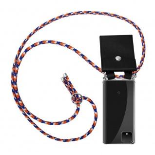 Cadorabo Handy Kette für Google Pixel 4 XL in ORANGE BLAU WEISS Silikon Necklace Umhänge Hülle mit Silber Ringen, Kordel Band Schnur und abnehmbarem Etui Schutzhülle
