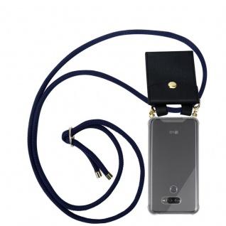 Cadorabo Handy Kette für LG K50 in TIEF BLAU - Silikon Necklace Umhänge Hülle mit Gold Ringen, Kordel Band Schnur und abnehmbarem Etui ? Schutzhülle