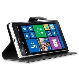 Cadorabo Hülle für Nokia Lumia 1020 in PHANTOM SCHWARZ - Handyhülle mit Magnetverschluss, Standfunktion und Kartenfach - Case Cover Schutzhülle Etui Tasche Book Klapp Style - Vorschau 3
