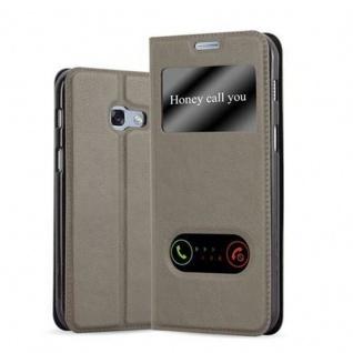 Cadorabo Hülle für Samsung Galaxy A5 2017 in STEIN BRAUN ? Handyhülle mit Magnetverschluss, Standfunktion und 2 Sichtfenstern ? Case Cover Schutzhülle Etui Tasche Book Klapp Style