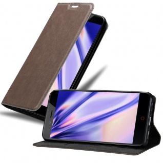 Cadorabo Hülle für ZTE Nubia Z11 MINI S in KAFFEE BRAUN - Handyhülle mit Magnetverschluss, Standfunktion und Kartenfach - Case Cover Schutzhülle Etui Tasche Book Klapp Style