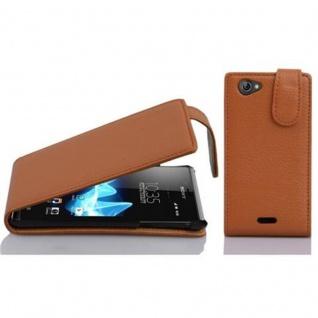 Cadorabo Hülle für Sony Xperia J in COGNAC BRAUN - Handyhülle im Flip Design aus strukturiertem Kunstleder - Case Cover Schutzhülle Etui Tasche Book Klapp Style