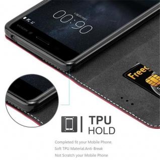 Cadorabo Hülle für Nokia 6 2017 in ROT SCHWARZ ? Handyhülle mit Magnetverschluss, Standfunktion und Kartenfach ? Case Cover Schutzhülle Etui Tasche Book Klapp Style - Vorschau 2
